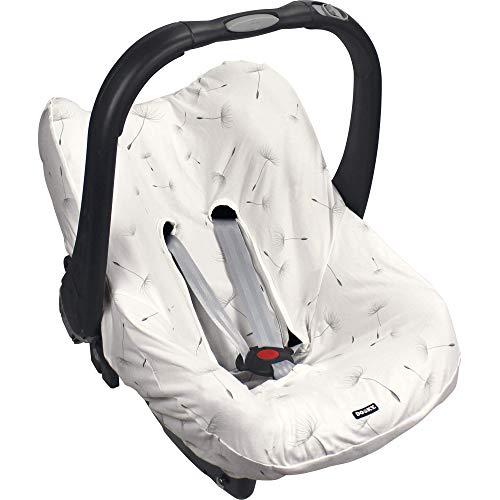 Dooky Seat Cover 0+ Dandelion Cubierta para el Asiento de Coche del bebé (para Sistema de cinturón de 3 y 5 Puntos, Grupo de Edad 0+, Adecuado para la mayoría de Las Marcas), Blanco