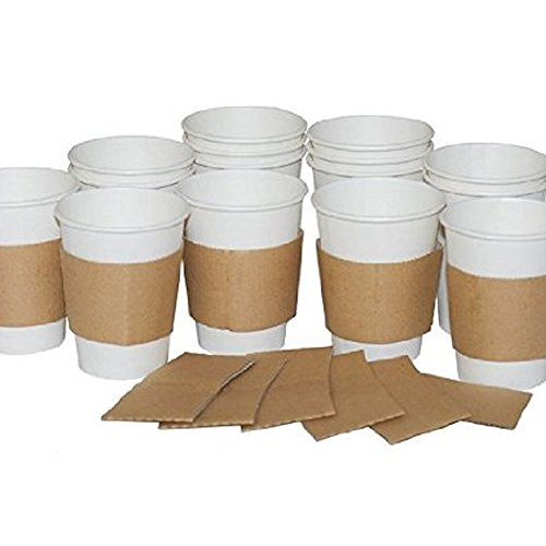 226,8 gram/283,5 gram/340,2 gram/453,6 gram/567 gram Marron Carton Boisson chaude Thé Tasse à café d'embrayage manches, marron, 8oz/10oz - Pack of 2000