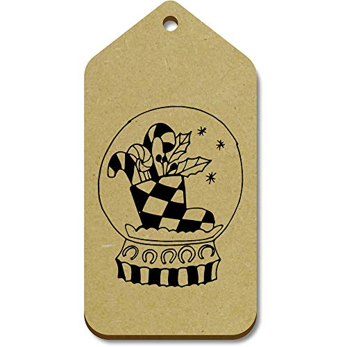 Azeeda 10 x Large 'Candy In Snow Globe' Wooden Gift Tags (TG00096290)