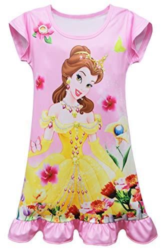 WNQY Little Girls Princess Pajamas sleepwear Toddler pyjamas Nightgown (5-6X, Pink)
