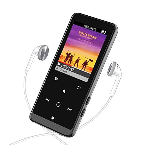 """16GB Reproductor MP3 Bluetooth 4.2-MP3 Player con Grabarora, FM Radio, con Pantalla de Color de 1.8"""" y Botón Táctil, Soporte hasta 64GB Tarjeta(Auriculares incluidos)"""
