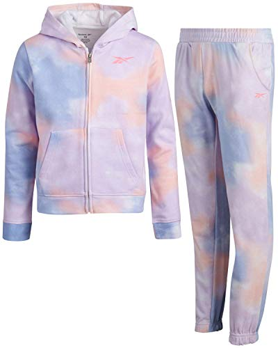 Reebok Girls' Athletic Jogger Set with Pullover Hoodie and Sweatpants (2 Piece), Size 6X, Printed Tie-Dye/Blue
