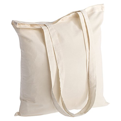 POLHIM Borsa Shopper in Cotone di qualità 50 Pezzi 145 g/m2 Dimensioni 38x42 cm Manici Lunghi 70 cm Natura 100% Cotone. Il Modello più Popolare.