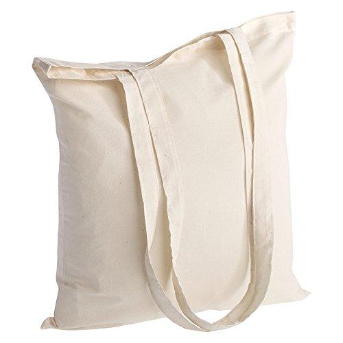 Sac en coton de qualité 40 pièces 145 grammes taille 38x42 cm poignées longues 70 cm nature 100% coton. Le modèle le plus populaire