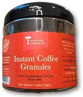 Instant Coffee Granules, Non GMO, 100% Colombian Arabica Coffee (4.5oz) 50 Servings