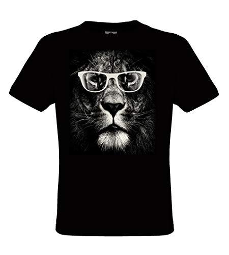 DarkArt-Designs Lifestyle T-Shirt Lion Glasses - Lion T-Shirt pour Messieurs - Motif de Chats Regular fit, Noir, L