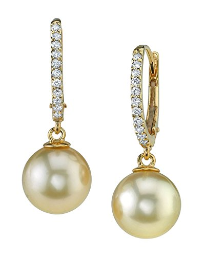 18K Gold Golden South Sea Cultured Pearl & Diamond Aurora Leverback Earrings