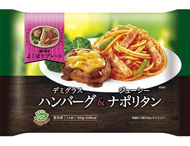 【冷凍】オーマイ よくばりプレート デミグラスハンバーグ&ジューシーナポリタン X6袋