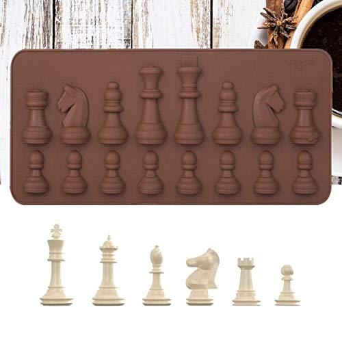 Duokon Molde de Chocolate de Silicona Moldes Silicona reposteria Molde de Formas internacionales de ajedrez Pastel de Chocolate de Hielo Molde para DIY Pastel de Caramelo Decoración