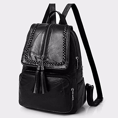 A-rz Backpack 2021 Female Backpack Pu Leather Youth Women Beautiful Fashion Girl Casual Rucksacks Lady Shoulder Bag (Color : Black)