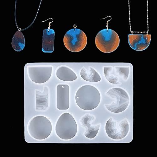QKFON Moldes de fundición de joyería, moldes de silicona para pendientes hechos a sí mismos para resina epoxi, manualidades, pendientes, pendientes, joyas, regalo para amantes de bricolaje