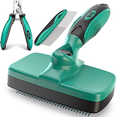 Ruff 'N Ruffus Self-Cleaning Slicker Brush + Bonus FREE Pet Nail Clippers   UPGRADED PAIN-FREE BRISTLES   Cat Dog Brush Grooming Gently Reduces Shedding & Tangling For All Hair Types by Ruff 'N Ruffus