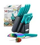 DISHWASHER SAFE KYA27 Rainbow Titanium Cutlery Knife Set, Marco Almond 14-Piece Kitchen Knives Set with Wooden Block, Teal