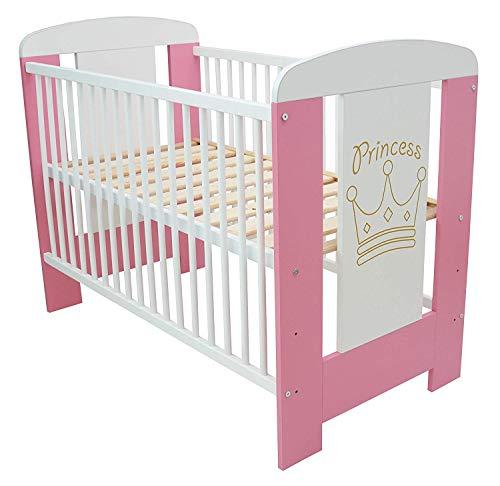 Best For Kids Gitterbett My Sweet Baby in 3 Farben ohne 10 cm Matratze aus Schaumstoff TÜV Zertifiziert Geprüft, Kinderbett Babybett weiß 4 Teile 120x60 (Rosa-Princess ohne Matratze)