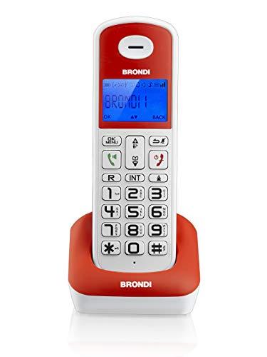 Brondi Bravo Style Telefono Cordless, Bianco Rosso