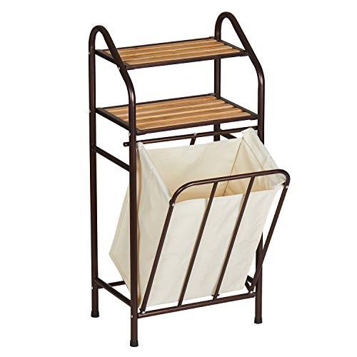 DICTAC Wäschekorb mit Badregal Bambus Wäschesortierer Wäschesack herausnehmbar Badregal mit 2 Ablagen