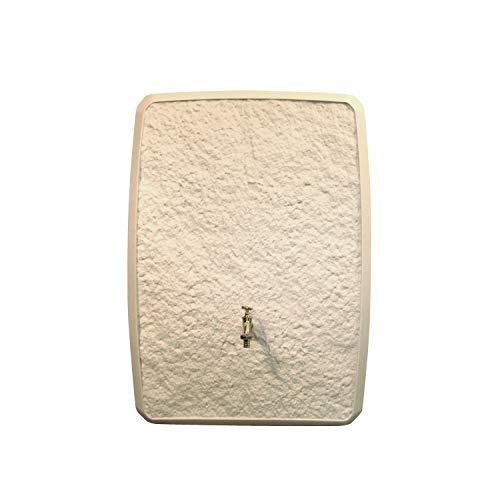 Regentonne eckig Regenwassertank Multitank 250 Liter sandstein aus UV- und witterungsbeständigem Material. Regenfass bzw. Regenwassertonne mit zwei unterschiedlichen Seite und hochwertigen Anschlüssen