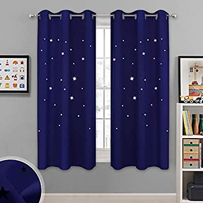 NICETOWN Starry Sky Curtains for Nursery - Navy Grommet Design Window Treatment with Star Cut-Outs Design, Block Out Light Drapes/Blinds for Kids Room (42W X 63L, 1 Set, Navy Blue)