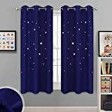 NICETOWN Starry Sky Curtains for Nursery - Navy Grommet Design Window Treatment with Star Cut-Outs Design,...