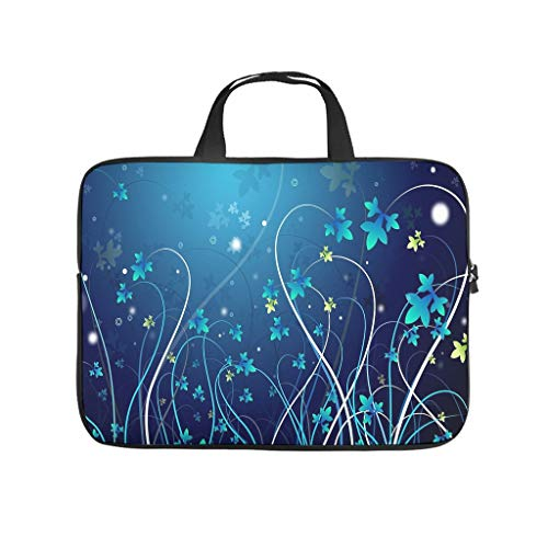 Bolsa para ordenador portátil con diseño de flores azules, resistente al desgaste, para universidad, trabajo o negocios.