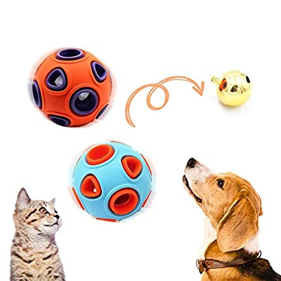 Amazon - Save 40%: 2Pcs Dog Treat Ball, Rubber Chewing Ball IQ Treat Balls Puzzle Toys with Bell, for…