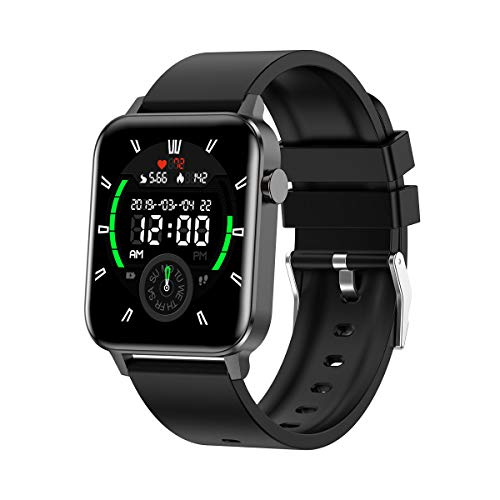 SYSMARTS Smart Watch (Black, Waterproof), Fitness Activity Tracker with Heart Rate Monitor Sleep Compatible iPhone Android Phones