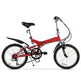 Vélo Pliant 20 Pouces 6 Vitesses, Frein en Acier au Carbone Double V, Mâle Femelle Portable Vélo Pliant 6 Vitesses Vélos De Ville Léger Absorption des Chocs Système
