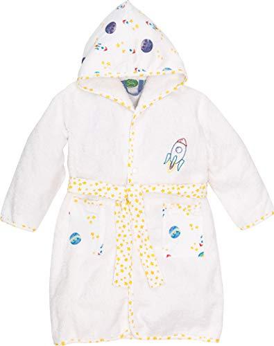 Smithy® Kinder-Bademantel aus 100% Bio-Baumwolle – Schadstofffrei und GOTS zertifizierter Baby Morgenmantel – mit Rakete und Sternen