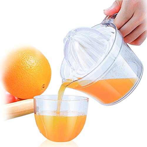 Citrus Juicer, Sunhanny Orange Lemon Manual Hand Squeezer, Anti-Slip Lid Rotation Reamer Lime Press, 17-Ounce Capacity, Clear