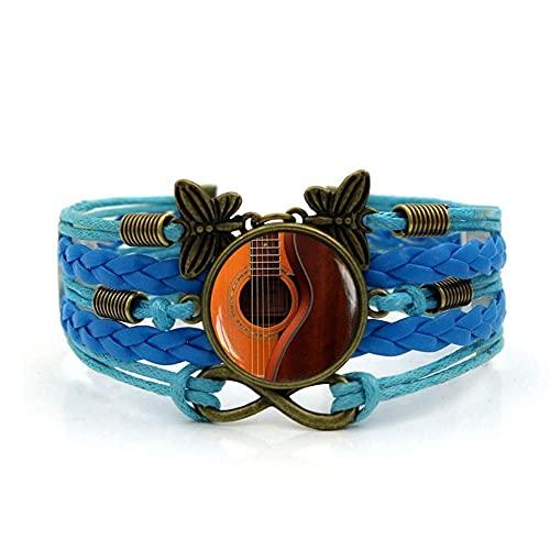 Pulsera tejida, Cuerda azul Moda Hermosa música guitarra, Tiempo Pulsera de piedras preciosas Multi-capa Mano tejida de vidrio Joyería de la joyería de la moda de la moda de la joyería de estilo europ