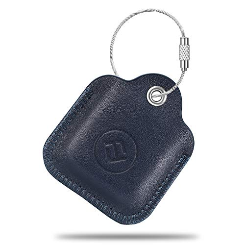 Fintie Genuine Leather Case for Tile Mate/Tile Pro/Tile Sport/Tile Style/Cube Pro Key Finder Phone Finder, Anti-Scratch Protective Skin Cover with Keychain, Navy Blue