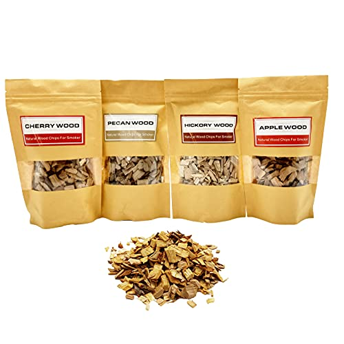 Wood Chips for Smoker Gun (8 oz) Natural Wood Chips for Smoking 4pcs Hickory, Pecan,Cherry and Apple Great for Smoking Beef Pork Chicken Fish Cocktail and Whisky