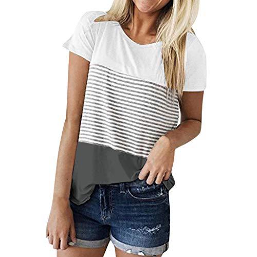 iHENGH Damen Top Bluse Bequem Lässig Mode T-Shirt Frühling Sommer Blusen Frauen Kurzarm Triple Color Block Streifen T-Shirt Lässige Bluse(Grau, XL)