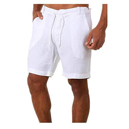 Pantalones Cortos de Verano Casual Color Sólido Cordón Cintura Elástica Cómodo Algodón Pantalones Cortos de Lino