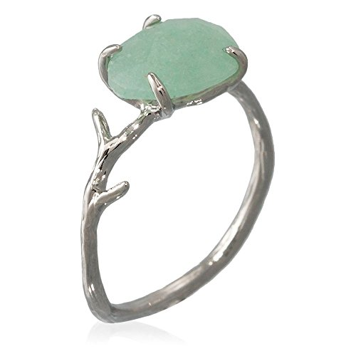 Mes-bijoux.fr - Anello in ottone argentato montato di un'avventurina verde lilla e Ottone, 14, cod. 3BS038Vgv_54