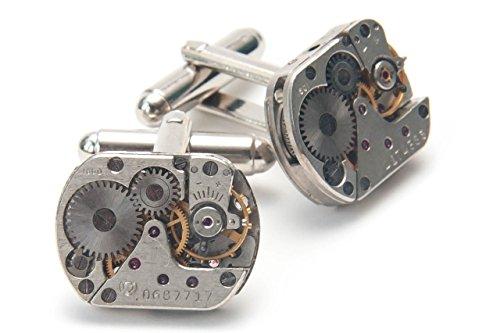 Jeff Jeffers Customs Boutons de manchette en argent pour homme Mouvement de montre vintage
