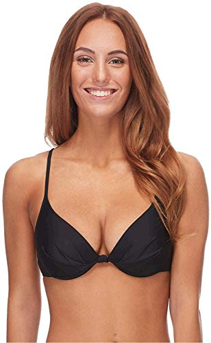 Body Glove Women's Smoothies Greta Solid Molded Cup Push Up Underwire Bikini Top Swimsuit, Black, Large