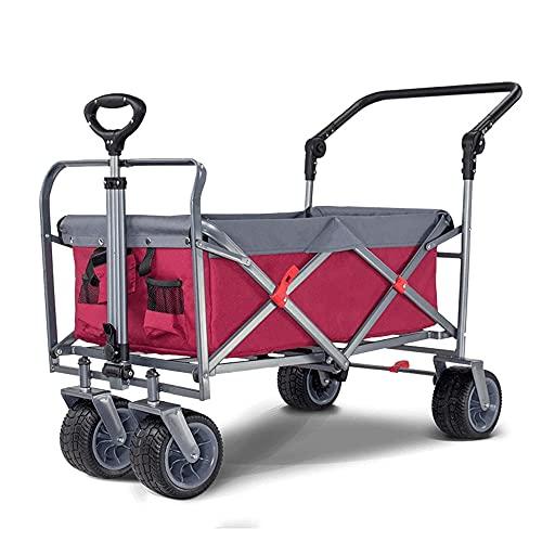 Comif-Bürostuhl Zusammenklappbarer Klappwagen mit Rädern, All-Terrain-Einkaufswagen für Strandcampinggarten im Freien, tragbarer Lebensmittelwagen für schwere Beanspruchung mit Seitentasche