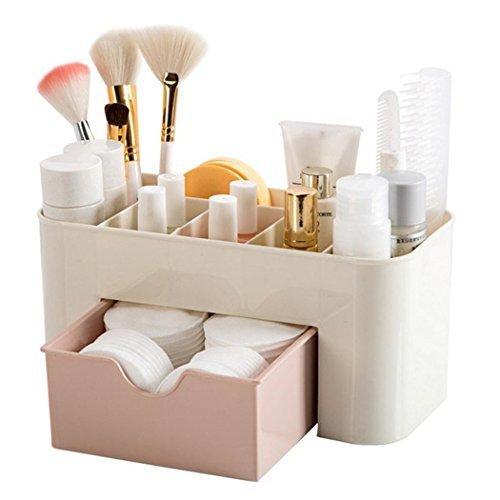 mymotto handliche Kosmetik Organizer Make-up Aufbewahrungsbehälter Desktop Aufbewahrungsbox mit Schubladen (Rosa)