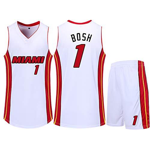 Gedenk-Jersey Miami Heat James Nr. 6 Wade Nr. 3 Bosh Nr. 1 Fan Jersey Herren Sommer Kinder Basketball Uniform Mesh Atmungsaktiv und schnell trocknend White-Bosh-XXXL