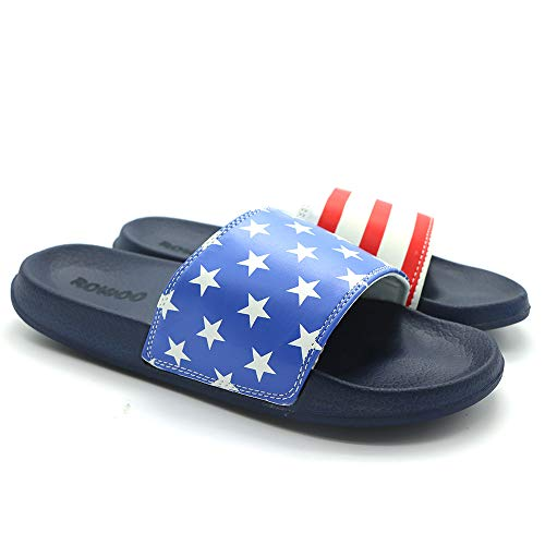 Men's Lightweight Flat Stripe and Star Slide Sandals (44 EU / 11 US, Blue)