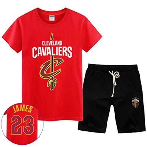LLSDLS T-Shirt NBA Fan Trikot Set Cleveland Cavaliers Retired Commemorative Kurzarm Herren Sweatshirt James # 23 Basketball Halbarm Sport Set Blau-3-XXXXXL T-Shirt (Color : Red-6, Size : Large)