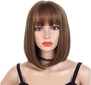 باروكة انيقة بلفائف وفروة كبيرة بتصميم بوبو ويف مع شعر ناصية منسدل، باروكة شعر بلون بني طبيعي
