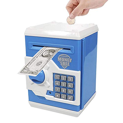 Totola Piggy Bank Electronic Mini ATM for Kids Baby Toy, Safe Coin Banks Money Saving Box Password Code Lock for Children,Boys Girls Best Gift(Blue)