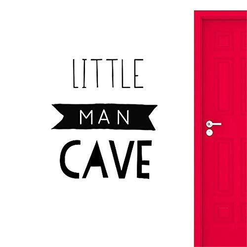 yiyiyaya Little Man Cave Sign Wandtattoos Dekoration Für Baby Jungen Kinderzimmer Dekor Kinder Spielzimmer Kunstwand Kaffee 56x64 cm