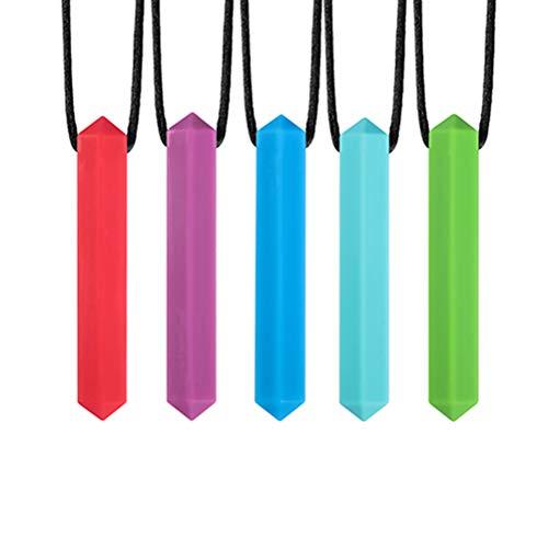 5pcs Sensory Chew Halskette für autistische ADHD SPD Oral Übungen, Leichte Food Grade Silikon Chew Halskette