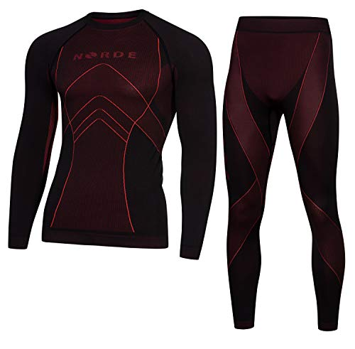 Norde THERMOTECH Herren Funktionswäsche Thermoaktiv Atmungsaktiv Base Layer Set Outdoor Radsport Running (Schwarz/Dark Red, M)
