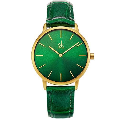 SHENGKE shengke señoras Reloj de Pulsera Creativas Mujeres Relojes Marca Reloj Mujeres Malla Vestido Reloj (Green)