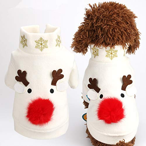 POPETPOP Costumi Natalizi per Cani Modello Alce Animali Inverno Vestiti Caldi Cappotti per Cani Giacca per Cani Abbigliamento Abiti da Festa per Cuccioli di Taglia Grande - m