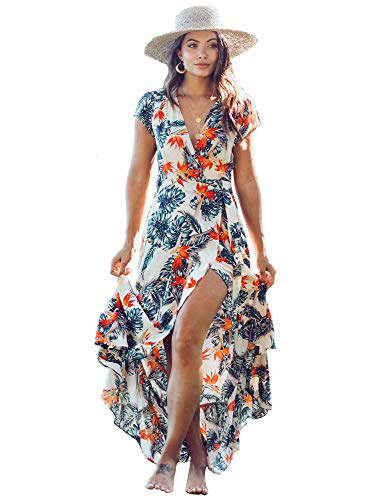 XIX Palm - Cozumel Wrap Dress | Sundress & Beach Coverup | Casual Outfits Overall | Floral & Flowy Vintage | V-Neck with Front Belt Knot Wearing 100% Rayon for Women.